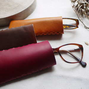 Leather Interlocking Glasses Case - luxury leather accessories