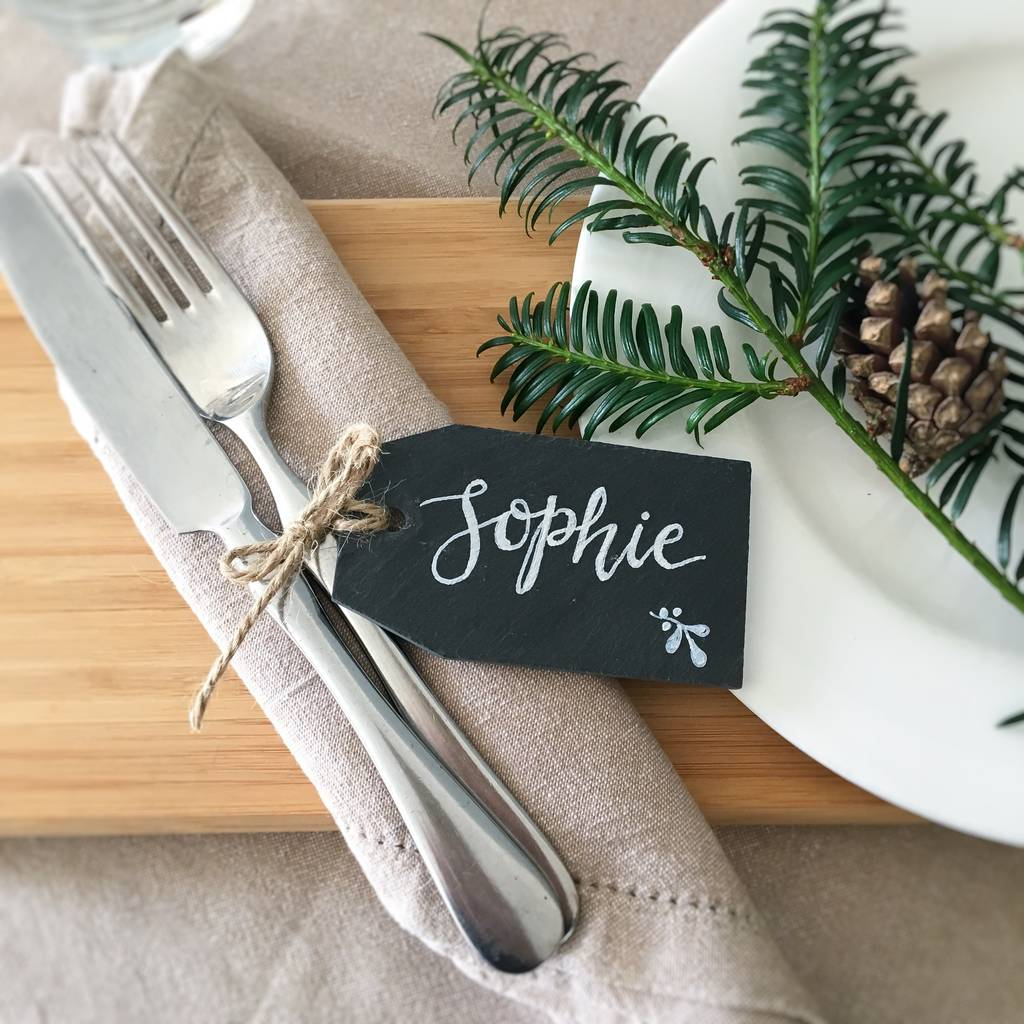 Personalised Slate Christmas Place Setting
