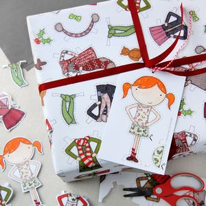 Christmas Paper Doll Wrapping Paper Set - ribbon & wrap