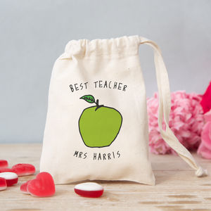 Personalised Apple Bag With Sweets - gifts for teachers