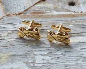 Rose Gold Plated Motorbike Cufflinks - cufflinks