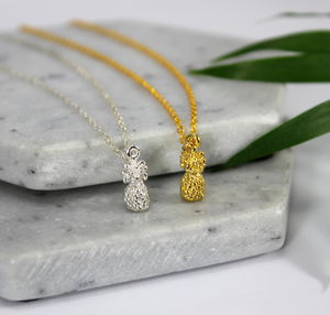Sterling Silver And Gold Mini Pineapple Charm Necklace