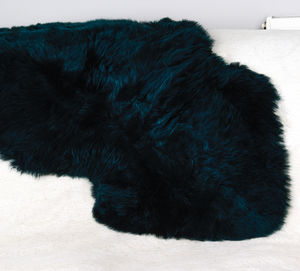 Luxury Teal Sheepskin Rug - dining room