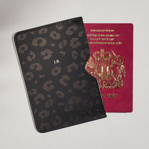 Personalised Black Leopard Leather Passport Holder