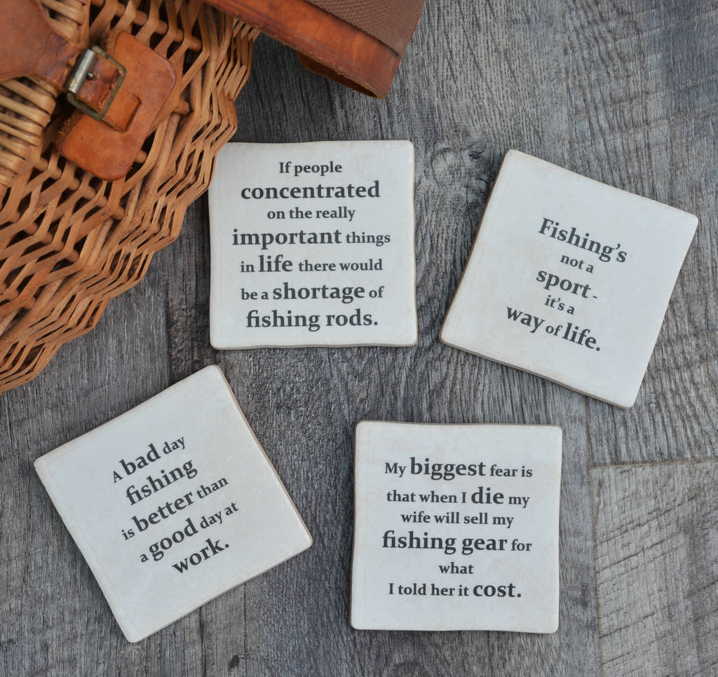 Set Of Four Ceramic Fishing Quotes Coasters
