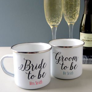 Bride And Groom To Be Pair Of Engagement Mugs - tableware
