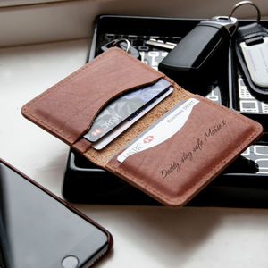 Personalised Slim Tan Leather Card Wallet - gifts for him