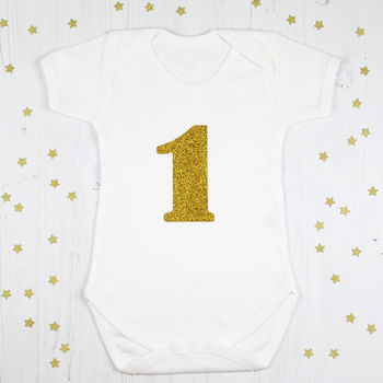 First Birthday Glitter Number One Baby Grow