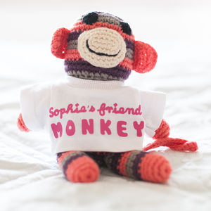 Personalised Monkey Friend Crochet Rattle Toy