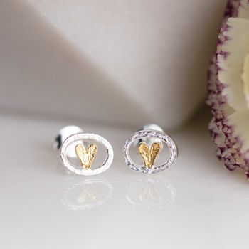Silver And Gold Oval Heart Studs