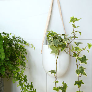 Ceramic Hanging Pot With Natural Leather Hanging Strap