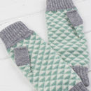 Triangle knitted fingerless mitts in mint