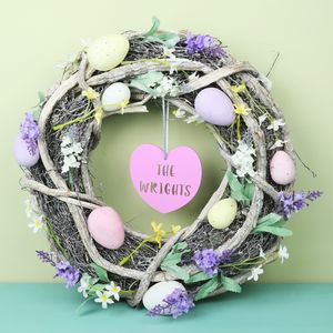 Personalised Floral Easter Egg Wreath