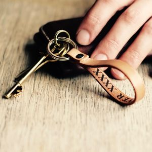 Personalised Secret Message Real Leather Key Ring