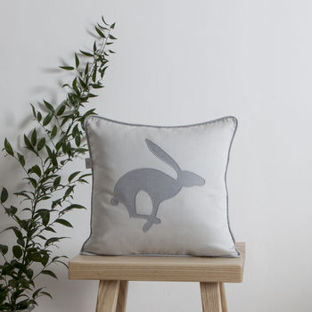 Jumping Hare Blue Cushion