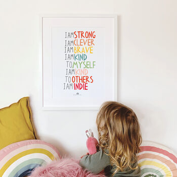 Personalised 'I Am Kind' Children's Affirmation Print
