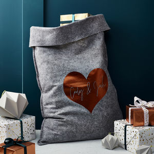 Personalied Grey Felt 'Heart' Christmas Sack