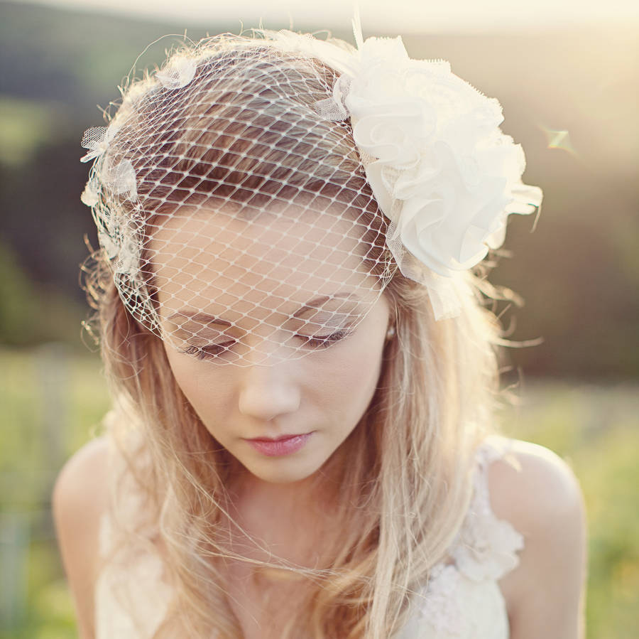 Flower Beaded Birdcage Wedding Veil