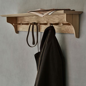 Witham Oak Shelf With Hooks - home accessories