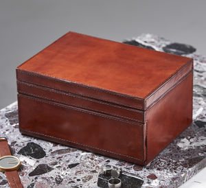 Gents Personalised Large Leather Jewellery Box