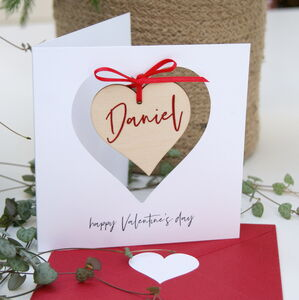 Valentine's Card Hanging Personalised Message Heart