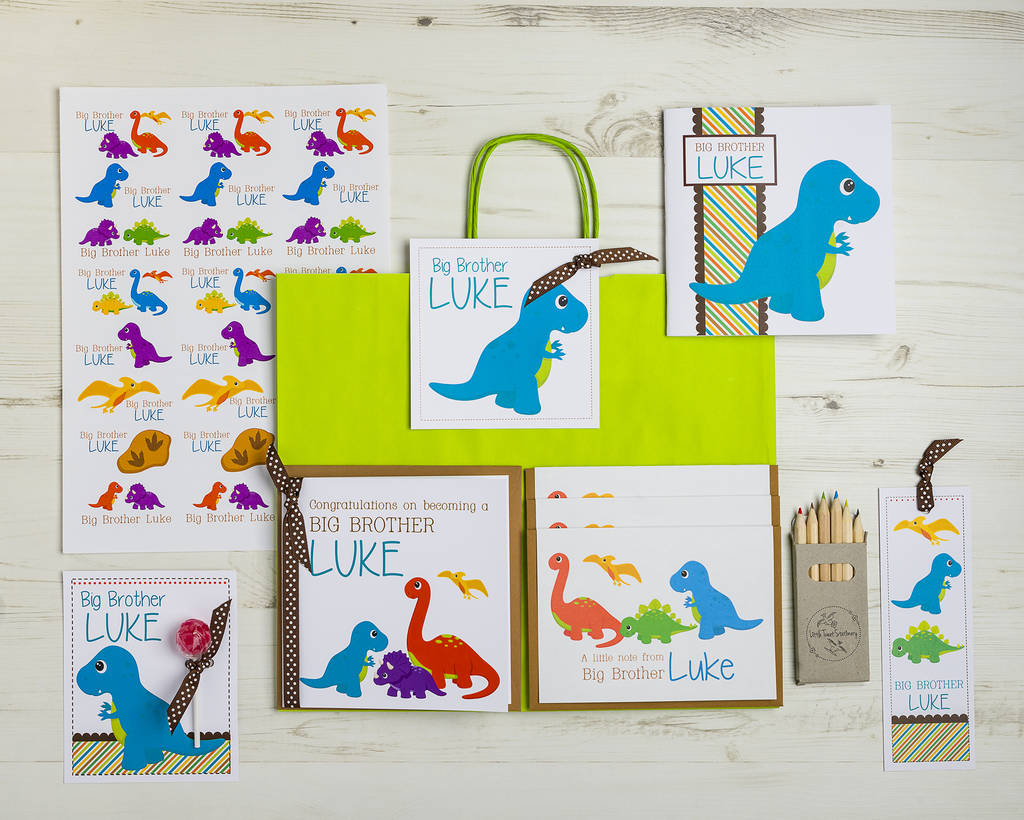 Any Name SHIRT /&  GIFT BAG PERSONALISED CUTE DINOSAUR BIG//LITTLE BROTHER T