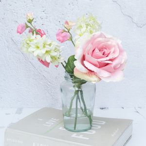 Artificial Rose Bouquet In Glass Vase