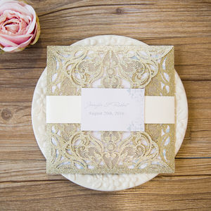 Pearl Square Laser Cut Gatefold Wedding Invitation - engagement party invitations