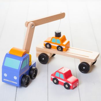 Personalised Magnetic Wooden Car Transporter Toy Crane