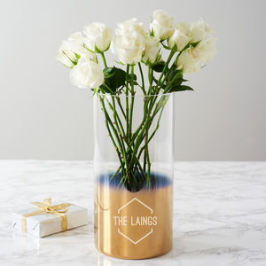 Personalised Family Name Gold Ombre Vase - the gift of gold