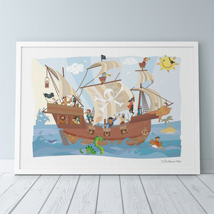 Jolly Roger Pirate Ship Print - children's room