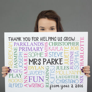 Personalised 'Thank You Teacher' Word Art - new in prints & art
