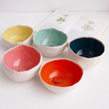 Handmade Round Glossy Ceramic Ring / Salt Dishes