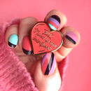 Non Deliquent Enamel Heart Pin, Grease Pin
