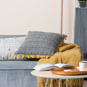 Hand Woven Black And Mustard Oversized Ziggy Cushion - cushions