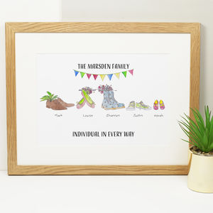 Personalised 'Funky Feet' Family Print