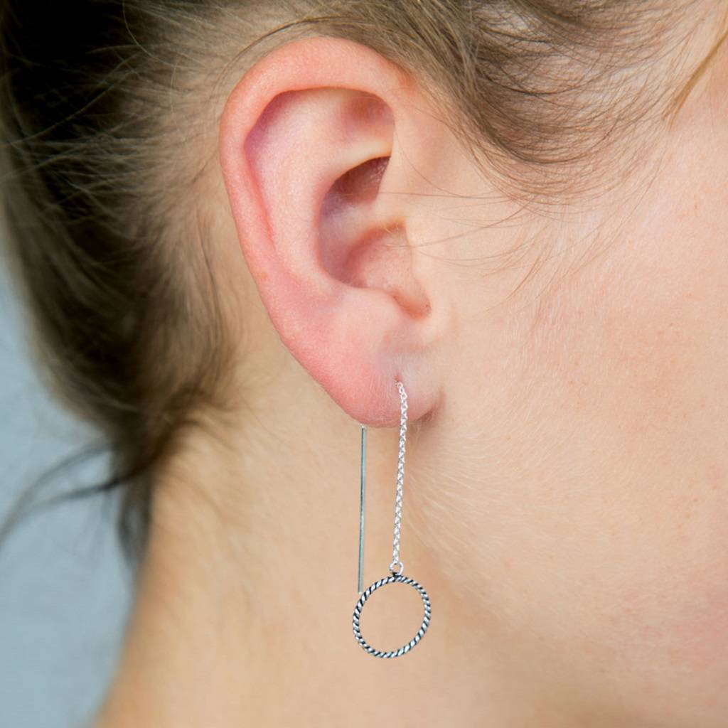 Sterling Silver Circle Threader Earrings