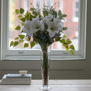 Classic White Amaryllis And Snowberry Silk Bouquet