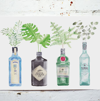 Gin Bottles Watercolour Painting Art Print