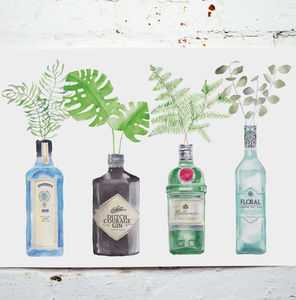 Gin Bottles Watercolour Painting Art Print - drawings & illustrations