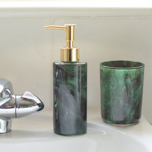 Marbled Glass Soap Dispenser And Toothbrush Cup