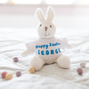 Personalised Knitted Easter Bunny Rattle Toy - rattles