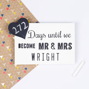 Wedding Countdown Chalkboard - personalised engagement gifts