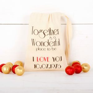 Personalised Anniversary Bag With Chocolates - valentine's gifts for him