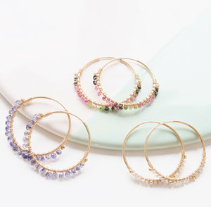 Gemstone Hoops - earrings