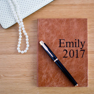 Personalised 2017 Leather Diary - 2017 & 2018 diaries