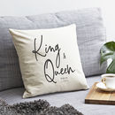 Personalised 'King And Queen' Cushion