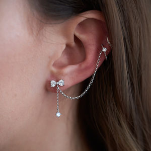 Bow Stud With Chain Linked Ear Cuff - contemporary jewellery
