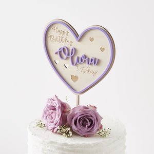Personalised Heart Birthday Cake Topper - cake decoration
