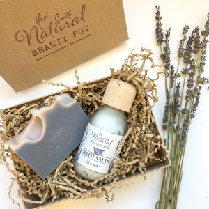 Natural Handmade Lavender Baths Salts And Soap Gift Set